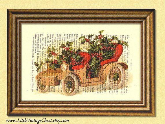 SANTA'S BEIGE CAR Christmas print  by littlevintagechest on Etsy, $7.99
