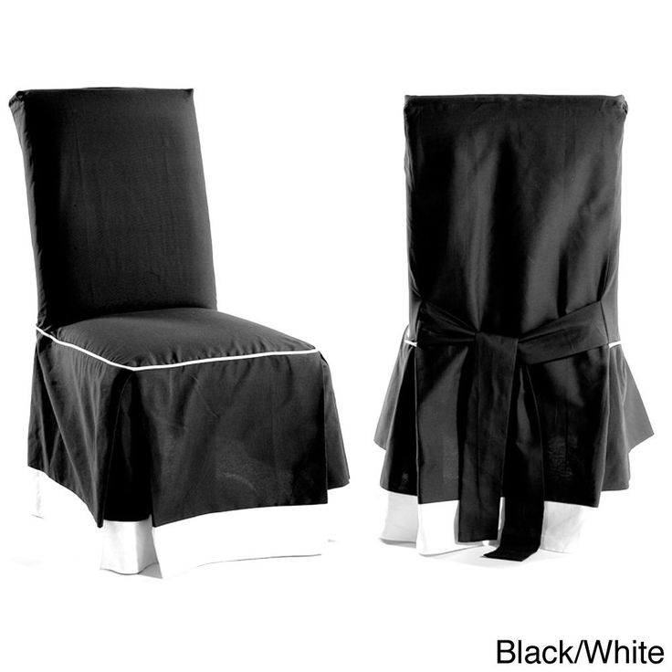 Skirted Two Tone Cotton Dining Chair Slipcovers