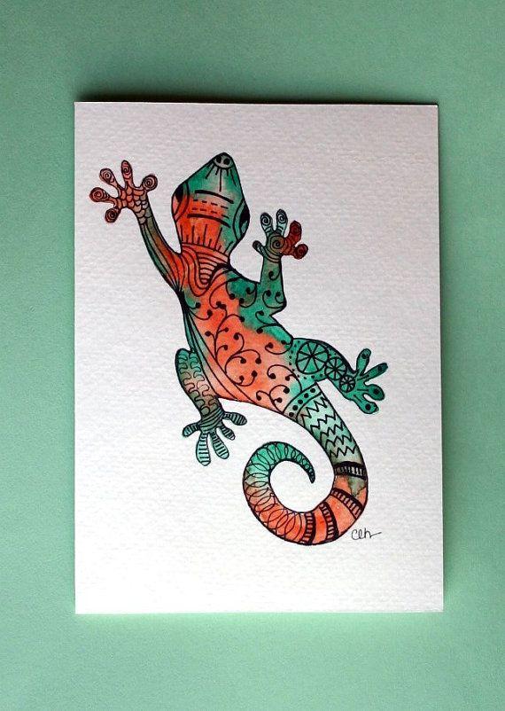 Watercolor card,(No 230), gecko, handpainted greeting card, lizard, card, blank inside, Zentangle art