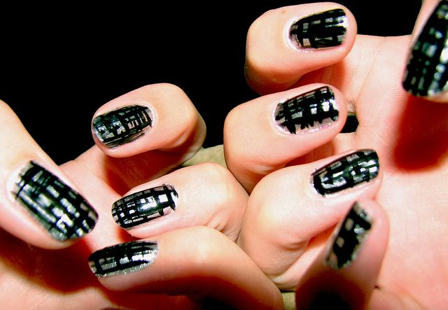 Grunge Nails Originally uploaded by dreamglow pumpkincat210 This is a really cool nail art look I did. First of all I used a clear base coat from Sally Hansen. After about 5 minutes I applied 1 gen...
