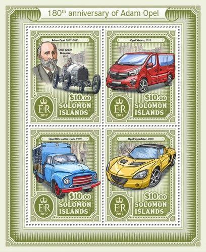 SLM17112a 180th anniversary of Adam Opel (Adam Opel (1837–1895), Opel Green Monster, 1915; Opel Vivaro, 2015; Opel Blitz cattle truck, 1959; Opel Speedster, 2000)