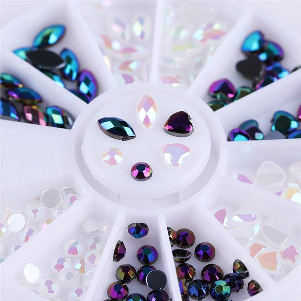 1 Box Mixed Color 3D Nail Art Decoration in Wheel Colorful Nail Studs Round DIY Manicure Nail Art Accessories Nail Tools