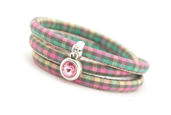 Swarovski Bracelet woven cotton wrap bracelet Pink by cardioceras
