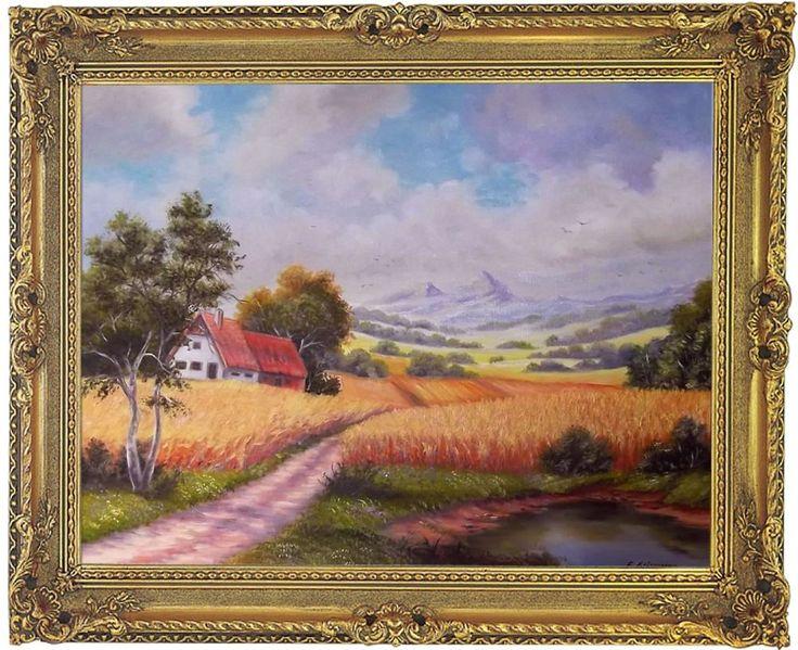 Landschaftsgemälde Bild Original Gemälde Ölmalerei Leinwandbild mit Barockrahmen