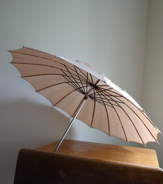 Love this! Vintage 1940 blush umbrella with crystal knob by TheMagickAttic