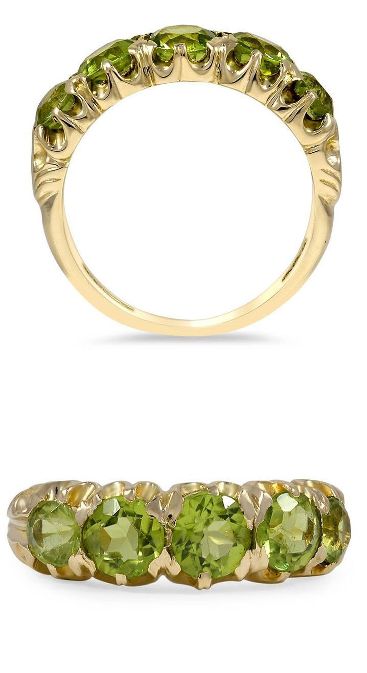 This Retroera Ring Displays Five Captivating Peridots In A Timeless Yellow  Gold Setting ( Peridot Jewelryperidot