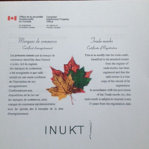 Inukt has the official canadian trademark