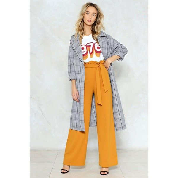 Nasty Gal Long Way to Go High-Waisted Pants ($50) ❤ liked on Polyvore featuring pants, mustard, long pants, high-waist trousers, high-waisted wide leg pants, wide leg pants and high waist pants