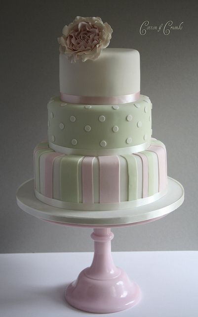 Pink & Green striped cake by Cotton and Crumbs, via Flickr: Pink Wedding, Cake Porn, Photo Sharing, Cake Ideas, Wedding Cakes, Ardencote Manor, Birthday Cakes
