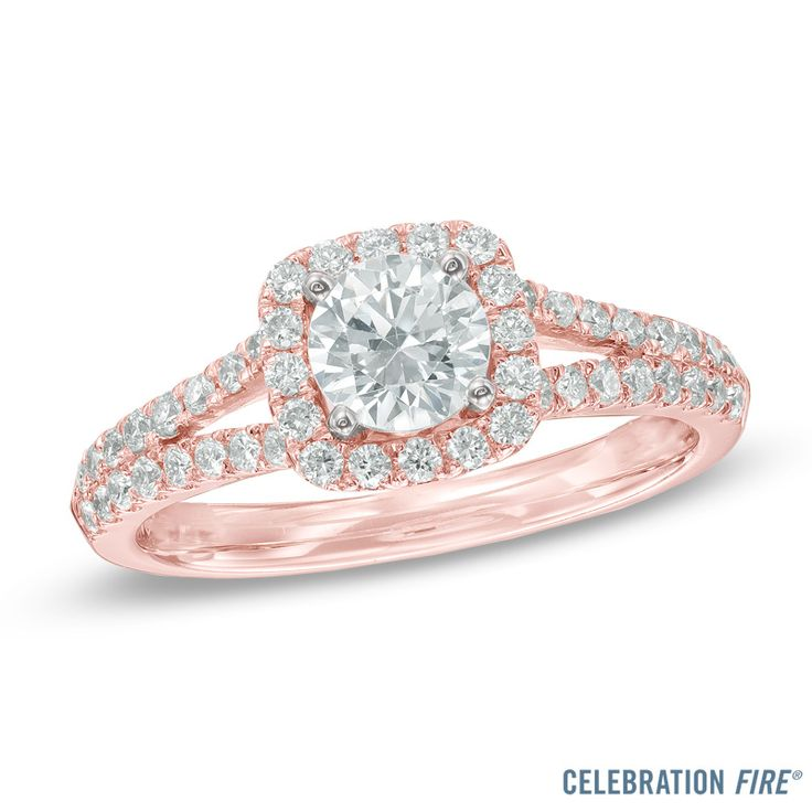 Rose Gold Halo Split Shank Diamond Engagement Ring