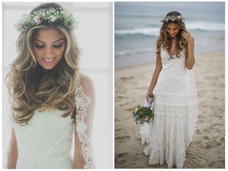 Traje de noiva - Coroa de flores - Look criativo para casamento na praia - Foto Studio 47
