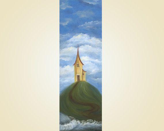 Maison jaune peinture acrylique peinture Art par SnowtreeGallery