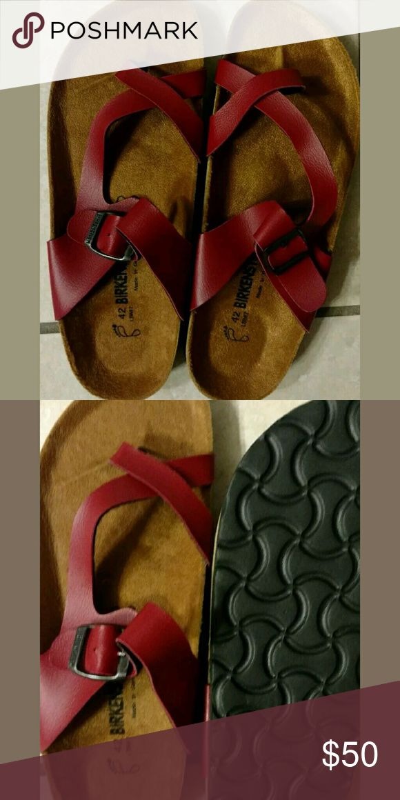 Cute red birkenstock sandal! (Brand new) Brand new women's sandal with no defects. Replacing because they are too small for me..fit like an 11 Birkenstock Shoes Sandals