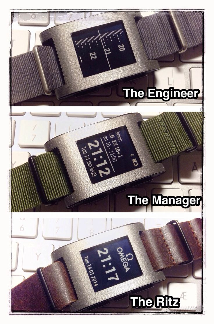 Puttin' on the Ritz: fitted this excellent Titanium Gadgetwrap this evening and test drove a few NATO / watchface combinations. No need to upgrade to the new Pebble steel here :-) ... the versatility of NATO Straps is great, even allowing me to strap the Pebble outside my winter running jacket!