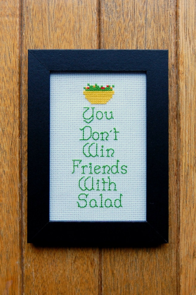 PATTERN - Simpsons - You Don't Win Friends With Salad - Cross Stitch. $4.00, via Etsy.
