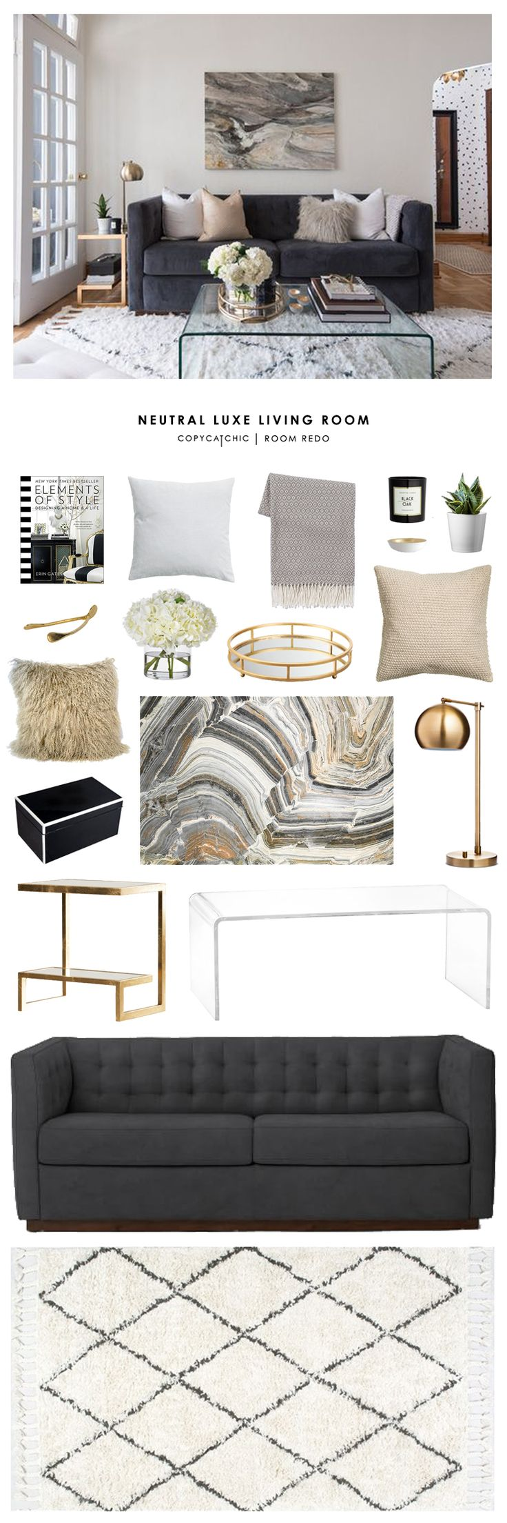 Copy Cat Chic Room Redo | Neutral Luxe Living Room More