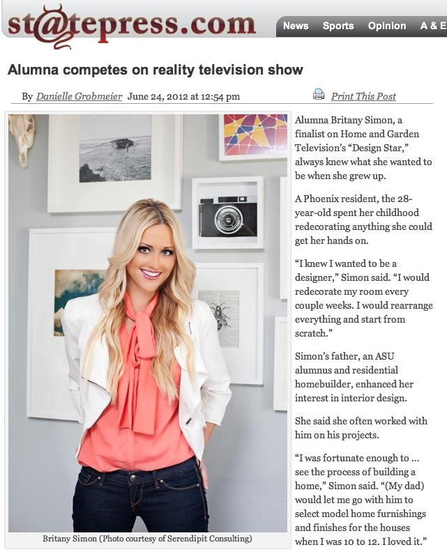 Britany Simon, finalist on HGTV's Design Star, featured in the ASU State Press