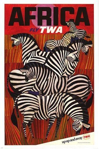 africa twa VINTAGE AD POSTER david klein STRIPES ZEBRAS collectors 24X36 HOT