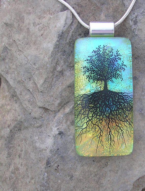 Fused Glass Tree Pendant