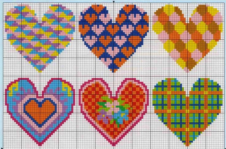Ricami, lavori e centinaia di schemi a punto croce di tutti i tipi, gratis: S.Valentino a punto croce