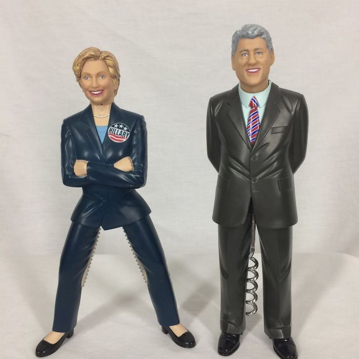 Bill & Hillary Clinton Corkscrew & Nutcracker Gag Gift Humor Bar Ware