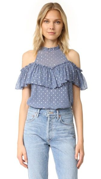 Airy ruffle trim complements the breezy feel of this crinkled chiffon Rebecca Taylor top. Lamé polka dots add allover shimmer. Sheer yoke and off-shoulder ruffle sleeve. Button back keyhole. Lined.