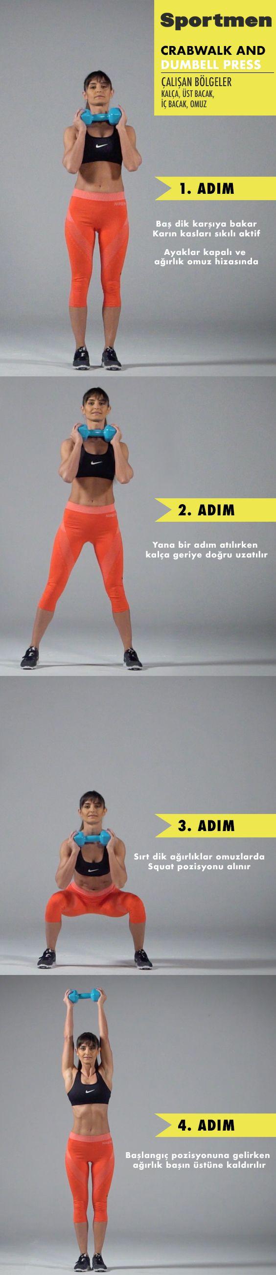 Kalça, üst bacak, iç bacak ve omuz kaslarını çalıştıran Crabwalk And Dumbell Press egzersizi nasıl yapılır? #fitness #egzersiz #workout #sportmen