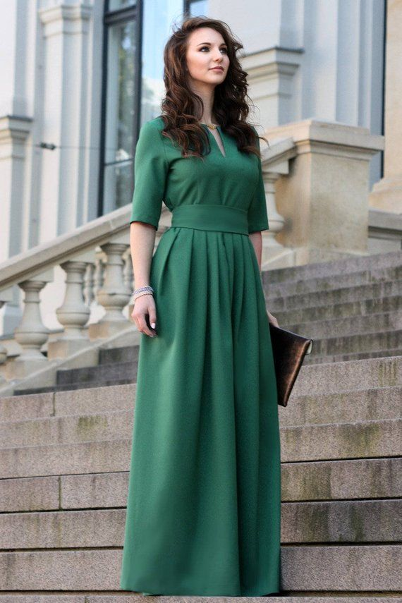 c4d69d6daaa2 Green Dress, Women Dress, Long Green Dress, Plus Size Dress, Formal Evening  Dress, Short Sleeve Dres
