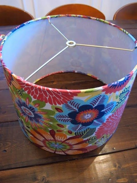 how to cover a lampshade with fabric. I have a few lampshades that could use a makeover....