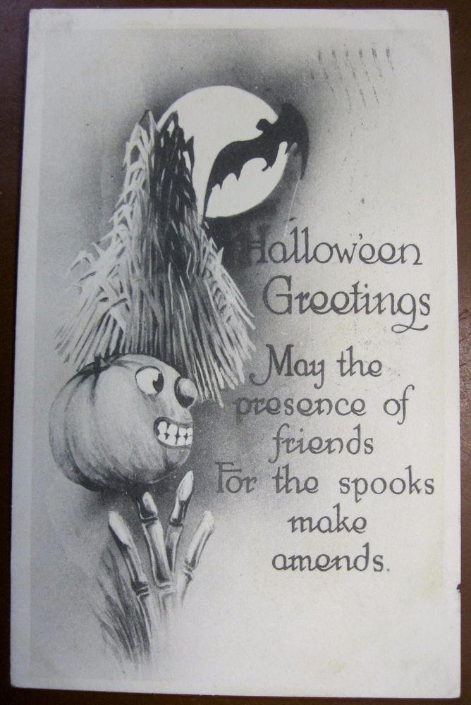 PC1267 HALLOWEEN Postcard 1912 Gibson Art Pumpkin Moon May Presence of Friends.. #Halloween