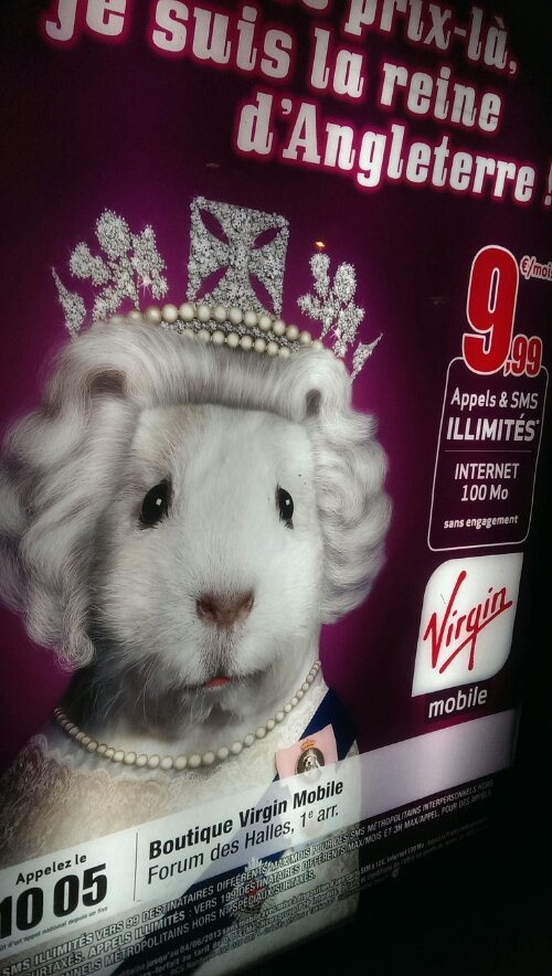 virgin mobile ce la joue reine d'angleterre avec un petit air de stuart little