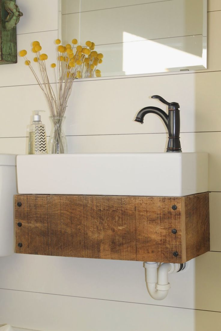 Diy floating vanity from reclaimed wood girl meets for Recycled bathroom sinks