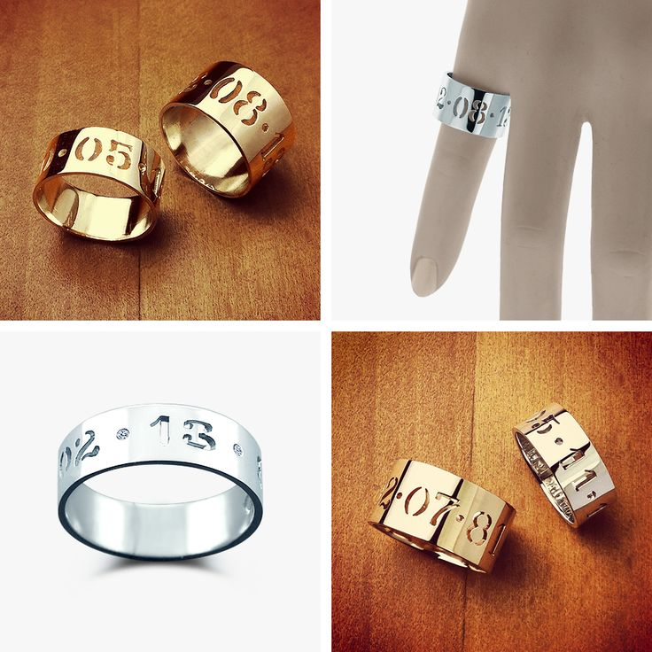 Custom Cut Out Anniversary Date Rings from designer Kay Wicks (NY)