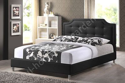 ONLY $447.97 Elegant Black Platform Bed with Upholstered Headboard Sizes: Full - Queen - King Soft black faux leather outfits a scallop-cornered headboard with matching upholstered side rails and low footboard, Faux crystals stud the headboard, creating a trendy button tufted look. Includes wooden slats (included) serve as a box spring so only a mattress and bed linens are needed (mattress and linens are not included). Tying everything together are silver metal legs with non-marking feet.