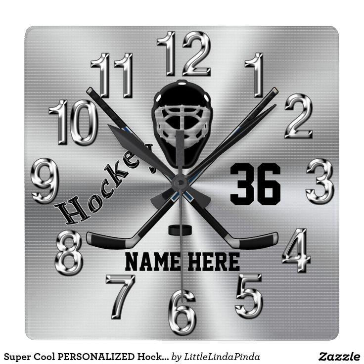 Affordable quality PERSONALIZED Hockey Clocks for Boys Hockey Room Decor. Your Name, Number (or monogram). CLICK: http://www.zazzle.com/super_cool_personalized_hockey_clock_for_boys-256652485139278515?rf=238147997806552929 I can create coordinating and matching hockey decorations for kids hockey bedroom or see more cool hockey Christmas gifts HERE: http://www.zazzle.com/littlelindapinda/gifts?cg=196351634751800801&rf=238147997806552929 Hockey Bedroom for Boys. CALL Linda for HELP…