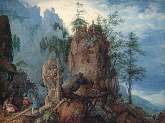 木こりのいる山岳風景 ルーラント・サーフェリー