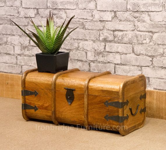 Solid Mango wood merchants chest / mariners trunk with iron