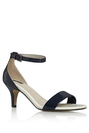 Navy Kitten Heel Sandals