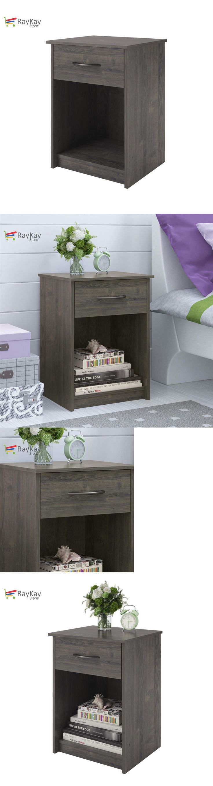 Nightstands 38199: Nightstand Set Of 2 Gray End Table Bedroom Bedside Furniture Shelf Drawer New -> BUY IT NOW ONLY: $63.98 on eBay!