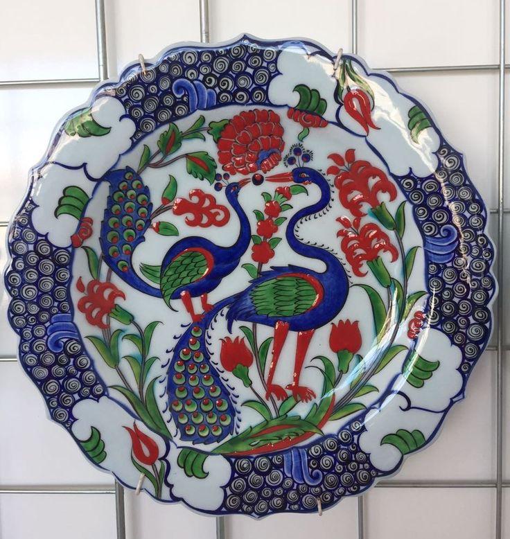 "PEACOCK TURKISH CERAMIC PLATE, 30 cm(11.8"")"