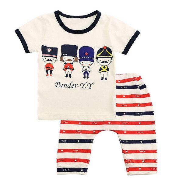 2015 Новый детская одежда мультфильм набор мальчиков одежда устанавливает лето мальчиков младенца костюмов футболку + короткие полосатые брюки одежда дети костюм