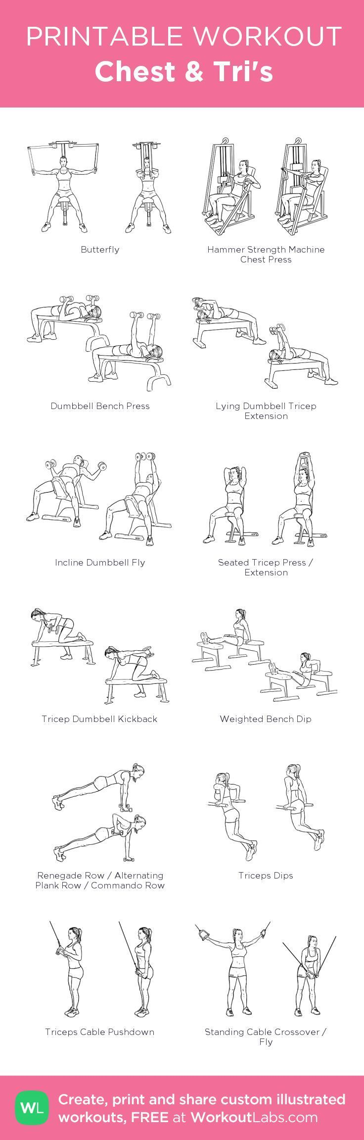 Chest Tris: my custom printable workout by @WorkoutLabs #workoutlabs #customworkout