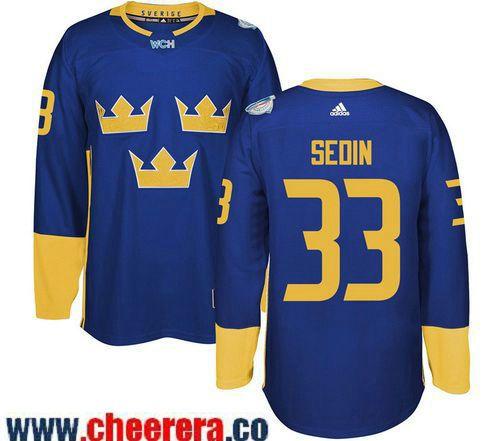 Men's Team Sweden #33 Henrik Sedin adidas Blue 2016 World Cup of Hockey Custom Player Stitched Jersey