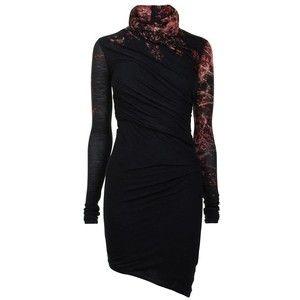 HELMUT LANG Red Print Roll Neck Dress