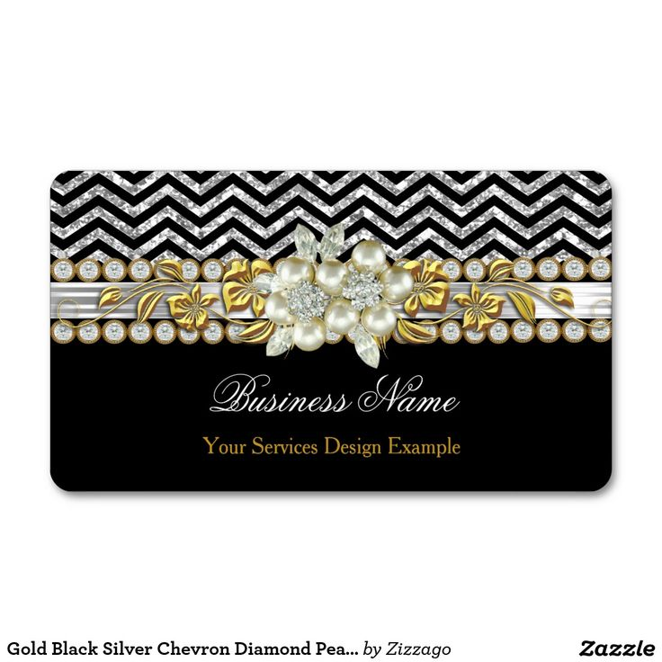 Gold Black Silver Chevron Diamond Pearl Floral Double-Sided Standard Business Cards (Pack Of 100)