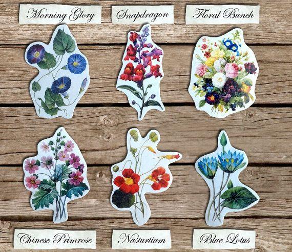 Vintage Flowers Temporary Tattoo Set of 1 or 6 by WonderInks