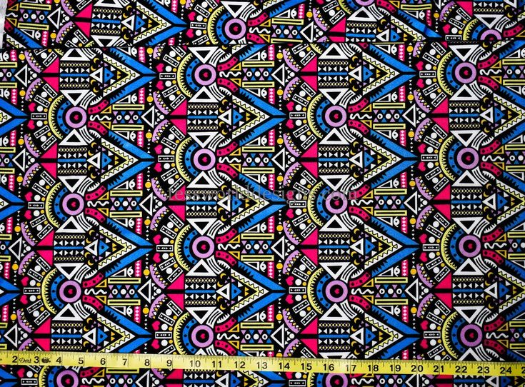 Abstract African inspired, 4 way stretch jersey fabric.Ideal for Prom and wedding dresses, leggings, blouses, swimwear, skirts, headgear, and more.Width:...