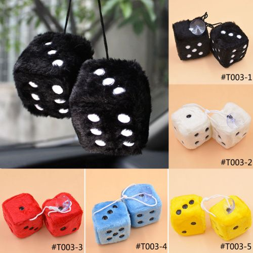 Lychee New Arrival Multi Color Cute Plush Dice Adhesive Disc Mirror Car Haning Pendant Car Decoration