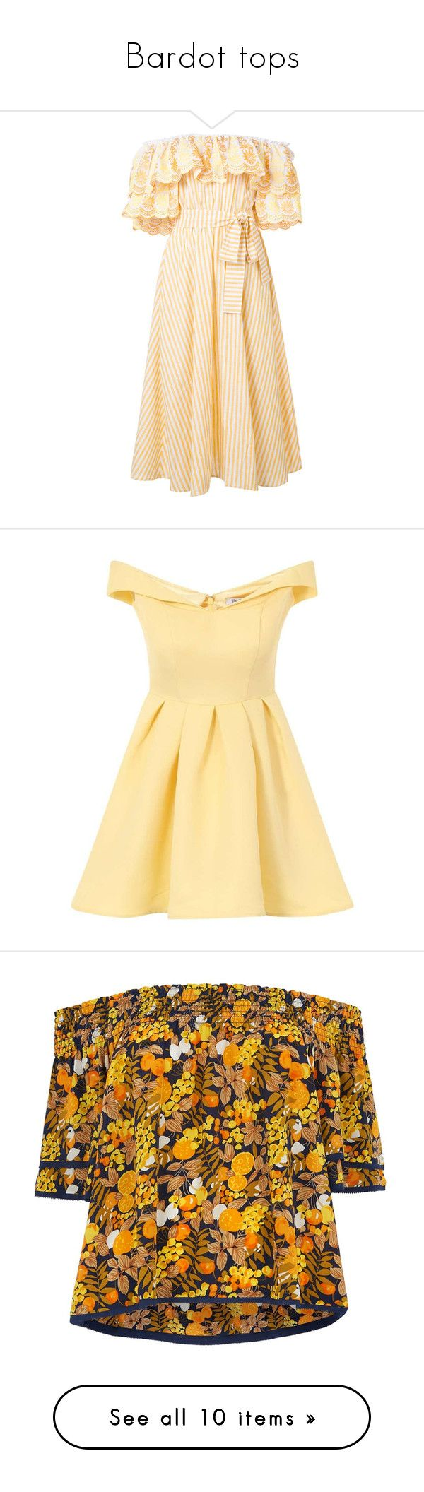 """""""Bardot tops"""" by victoriasb94 ❤ liked on Polyvore featuring dresses, beige dress, yellow off the shoulder dress, yellow striped dress, flutter-sleeve dresses, striped off the shoulder dress, yellow dresses, yellow, beige pleated dress and calf length dresses"""