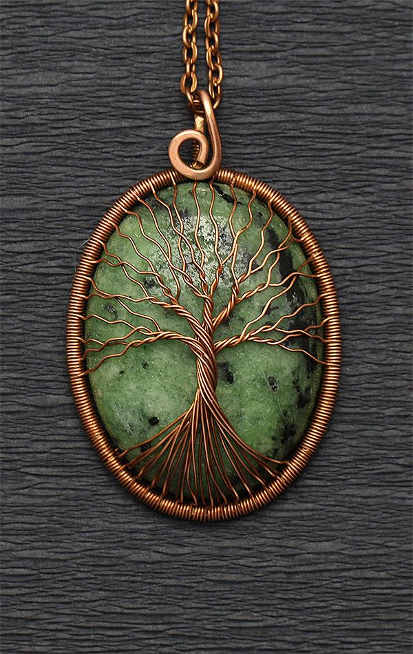 Tree-Of-Life Pendant Necklace Ruby Zoisite Necklace July Birthstone Necklace 7th…  – Gemstone jewelry. Wire wrapped Tree Of Life necklace pendant.